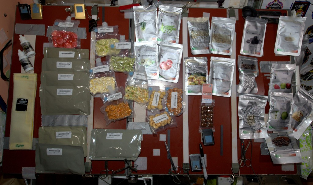 The selection of healthy ingredients that I have here on board of the Space Station.