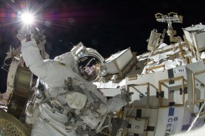 Sunita Williams during spacewalk. Credits: NASA