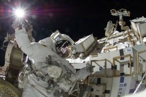 Sunita Williams during spacewalk. Credits: NASA