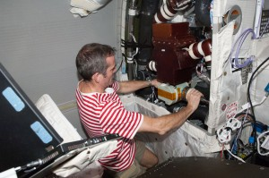 Canadian astronaut Chris Hadfield also did some do-it-yourself in Columbus. Credits: NASA